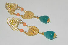 Roman Etruscan  Blue Agate Earrings Yellow Gold over Sterling Silver