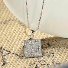 925 Sterling Silver Charm Square Pendant Shiny Micro Pave CZ Crystal Jewelry