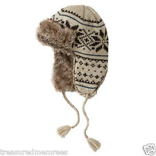 Urban Pipeline Fair Isle Knit Trapper Hat With Faux Fur Brim ~ New With Tag