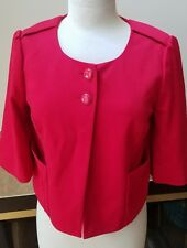 Ann Taylor Loft red Swing suit Jacket  Size 6 3/4 Sleeve button cardigan top