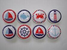 Set of 8  Nautical Dresser Drawer Knobs Sailboat Whale Lighthouse Crab Anchor