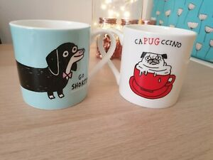 Official Gemma Correll Capugccino Pug Sausage Dog Mug Cup