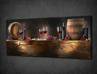 VINTAGE WINE BOTTLES BARRELS KITCHEN CANVAS PRINT WALL ART PICTURE READY TO HANG