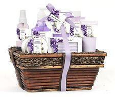 8 Pieces Premium Bath & Body spa handcrafted Wicker Basket Gift Set in Lavender