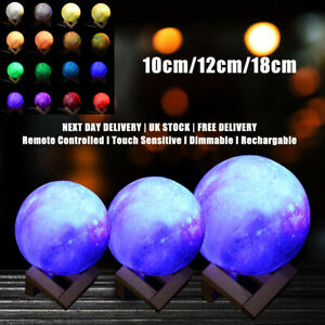 16 Colors Galaxy Moon Lamp Light LED 3D Bedroom Night Light Stand USB Remote
