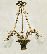 Antique French solid bronce chandelier Basket-shaped Porcelain flowers