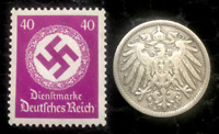 Historical Antique- German 10 Pfennig Coin with Famous 40pf Purple Unused Stamp