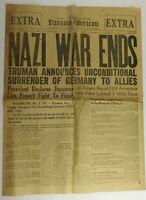 RARE! Nazi War Ends May 8 1945 Truman Panama American Newspaper Original (1A1)