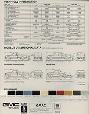 1987 GMC S15/S-15 PickUp TRUCK Brochure w/Color Chart:HIGH SIERRA,GYPSY,4WD,4x4,