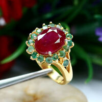NATURAL 8 X 10 mm. OVAL RED RUBY & GREEN EMERALD RING 925 STERLING SILVER