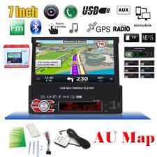 "7"" Single 1 DIN Touch Screen GPS SAT Navigation Car Stereo MP5 Player w/ AU Map"
