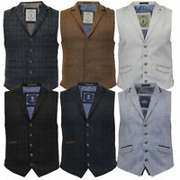 Mens Waistcoat Wool Mix Cord Cavani Formal Vest Herringbone Tweed Check Party