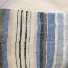 Pine Cone Hill Tailored Bed Skirt Full Size Blue & White Striped Honfleur Linen