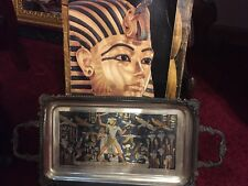 Vintage Egyptian Style Tray Jewelry Silvertone Copper Handles