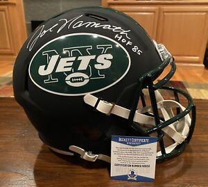 Joe Namath Signed New York Jets Full Size Black Matte Helmet HOF 85 Beckett #1