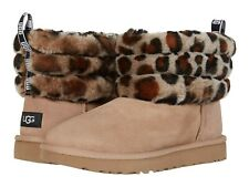 Женские туфли Ugg пуха мини стеганая леопард сапоги из овчины 1105358 амфора