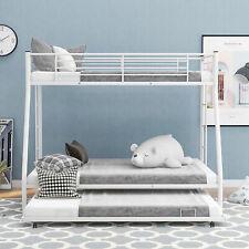 Metal Bunk Bed Twin Over Full Bunk Bed Frame W/ Trundle Ladder Bedroom Furniture