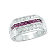 NATURAL RUBY, WHITE TOPAZ CHANNEL SET WHITE GOLD OVER SILVER RING SIZE 10.25