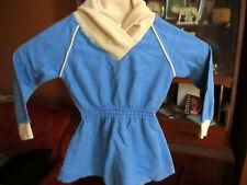 NWOT 3T TRUE Vtg 80s Girls Blue ACETATE VELUR Cowl Neck NEW WAVE PARTY Dress
