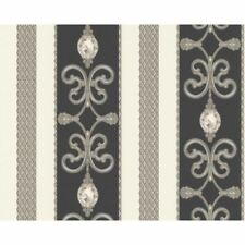 AS Creation Ornate Damask Pattern Wallpaper Chain Stripe Metallic Crystal 891334