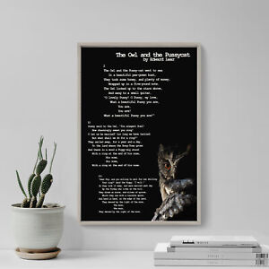 Edward Lear Poem - The Owl and the Pussy-Cat - The Owl - Poster Art Print Gift