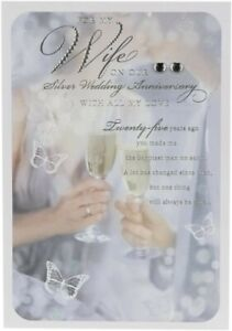 "Hallmark ""For My Wife On Our Silver Wedding Anniversary"" 25th Anniversary Card"
