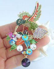 """Hummingbird Brooch Pin Pendant 01775C3 Unique 3.54"""" Multicolor Austrian Crystal"""