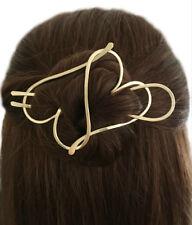 Heart Hair Barrette Brass Bun Holder Gold Hair Fork Long Hair Holder