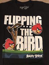 "T Shirt Black Angry Birds ""Flipping the Bird"" 100% Cotton"