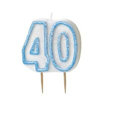 Blue Glitz Number 40 Candle 40th Birthday Cake Candles Party Decorations