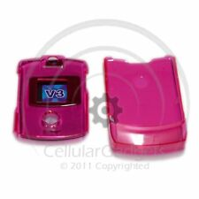 PREMIUM CRYSTAL HOT PINK Protective Case for Motorola RAZR V3 /V3c