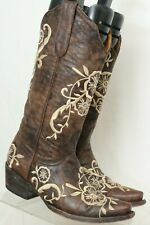 Old Gringo RARE Brown Embroidered Flower Snip Toe Cowboy Boots Women's US 5 B