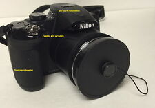 FRONT SLIP-ON PUSH-UP LENS CAP DIRECTLY TO CAMERA: NIKON COOLPIX P80 +HOLDER