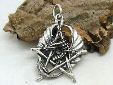 Drache mit Pentagramm 925 Silber Anhänger Drachen dragon pentagram pendant
