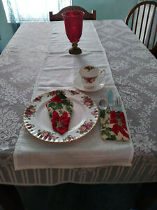 White polyester  holiday table runner 12 X 42 New pinklady cottage