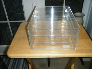 acrylic storage box large organiser  clear 3 drawer tray stack case