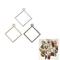 10 Pcs Square Pendant Resin Frame Open Back Bezel Setting Necklace Jewelry DIY