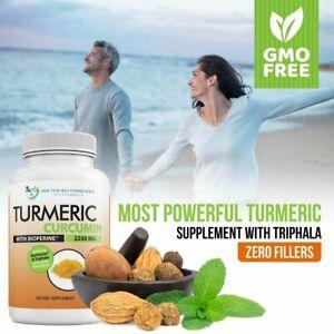 Turmeric Curcumin - 2250mg/d - 95% Curcuminoids - 180 Veggie Caps with Black...