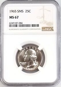 1965 SMS Washington Quarter certified MS 67 by NGC!