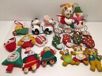 Lot Of 18 Felt Yarn Fabric Christmas Ornaments Bucilla Handmade Mice Snowman