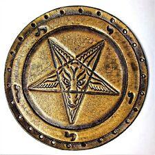 baphomet  sigil  gold GENUINE LEATHER  PATCH black metal