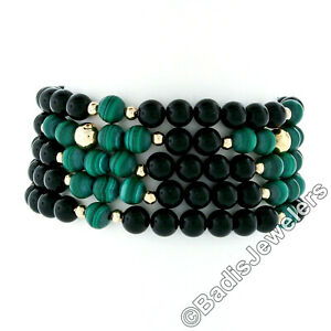 Vintage 14k Yellow Gold 5 Strand 6mm Black Onyx Malachite & Gold Bead Bracelet