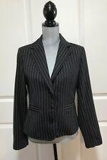 CABI Style #364 Black Joey Blazer Jacket Pinstripes Leopard Lining Career-Size 6