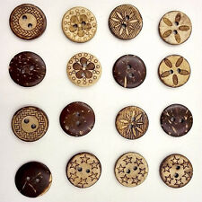 50 Pcs Mixed Round Wooden Buttons Carving Retro 2-holes Buttons DIY Decoration