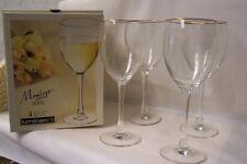 NEW IN BOX 4 MONTEGO LUMINARC STEMMED 10 1/2 oz  GOBLET GLASS 18 KARAT GOLD RIM