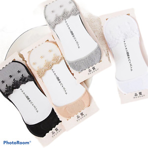 3 PAIRS PACK LADIES WOMEN NET LACE FOOTIES INVISIBLE SOCKS NO SHOW SHOE LINERS