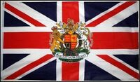 3' x 2' Union Jack with Royal Crest Flag Queens 90th Birthday Royalty Banner