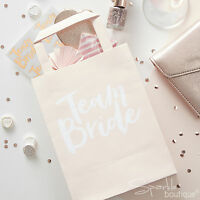 TEAM BRIDE PARTY BAGS x 5 - Hen Do Gift Bags - Pink/White Hen Night Favour Bags