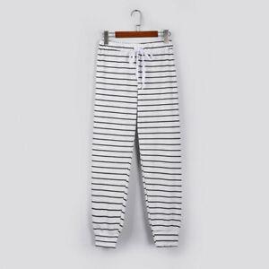 Summer Women High Waist Elastic Harem Pants Stripe Casual Daily Trousers Bottoms