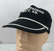 Vtg Pratt Feeders Hat Snapback Trucker Cap USA Kansas Farm Black
